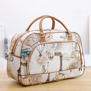 Printed Pu Soft Leather Travel Fitness Luggage Bag - White