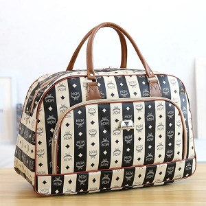Printed Pu Soft Leather Travel Fitness Luggage Bag - Black