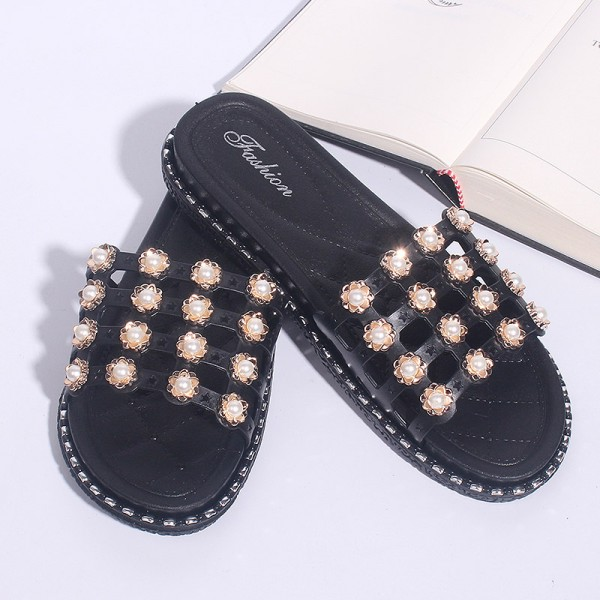 Flat Floral Patched Casual Wear Sandals