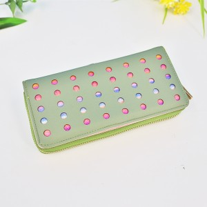 Hollow Round Patched Colorful Money Wallet - Green