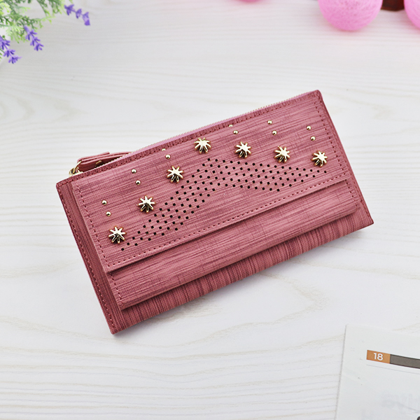 Hollow Floral Rivets Mesh Texture Money Wallet - Pink