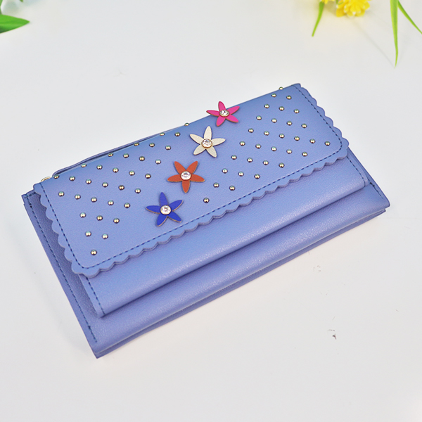 Zipper Closure Floral Synthetic Leather Wrist-let - Blue