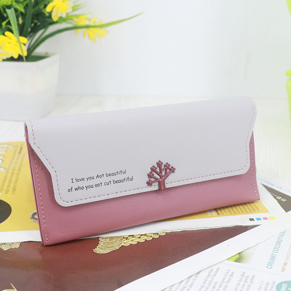 Magnetic Closure PU Leather Wristlet Wallets - Rose Pink
