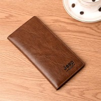 Flip Pu Leather Multi Pockets Solid Hand Wallets - Brown