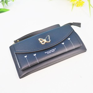 Butterfly Cute Card And Money PU Wallet - Black