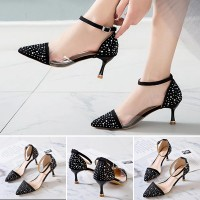 Polka Printed Pointed Pencil Women Heels - Black