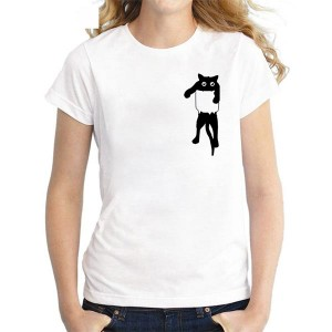 Cat Printed Round Neck Short Sleeves T-Shirt
