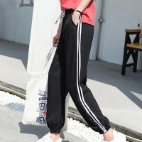 Side Striped Spliced Loose Drawstring Trousers - Black
