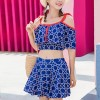 Spaghetti Strap Geometrical Prints Beachwear Suit - Blue