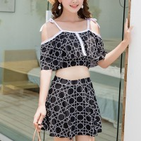 Spaghetti Strap Geometrical Prints Beachwear Suit - Black