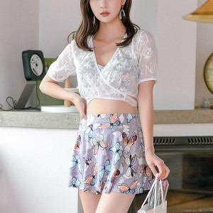 Backless Printed Floral Two Piece Swimwear Suit - Multicolor