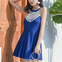 Lace Hollow Texture Halter Neck Swimwear Dress - Blue