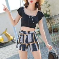 Geometric Prints Three Pieces Beach Swimwear Suit - Black