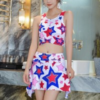 Stars Printed Two Pieces Beach Swimwear Suit - White