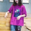 Printed Loose Party Wear T-Shirt - Purple