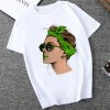 Lady Prints Round Neck Short Sleeves T-Shirt - Green