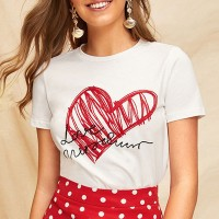 Loved Heart Prints Round Neck Casual Summer T-Shirt - White