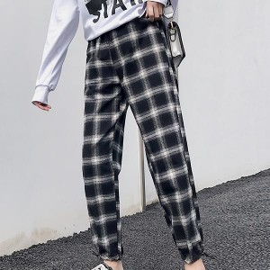 Contrast Checks Sports Loose Casual Women Trousers - Black