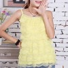 Ruffle Layered Strap Shoulder Summer Blouse - Yellow