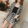 Check Printed Two Pieces Summer Suit - Black