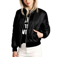 Warm Classic Casual Solid Outwear Ladies Jackets - Black