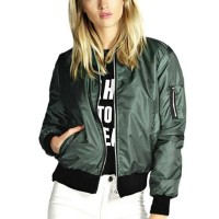 Warm Classic Casual Solid Outwear Ladies Jackets - Green
