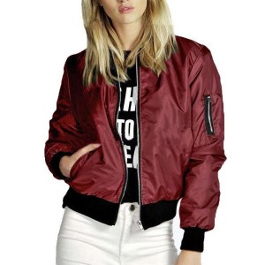 Warm Classic Casual Solid Outwear Ladies Jackets - Red