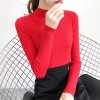 Half-high Collar Slim Women Long Sleeves T-shirt - Burgundy