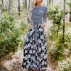 Striped Contrast With Floral Skirt Maxi Dress - Black