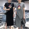 Short Sleeve Clothes Cartoon Printed Female Dress - Black
