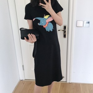 Short Sleeve Clothes Elephant Printed Female Dress - Black