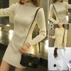 Ribbed O Neck Body Fitted Summer Dress - White