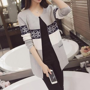 Slim Mid-length Contrast Knitted Women Cardigans - Gray