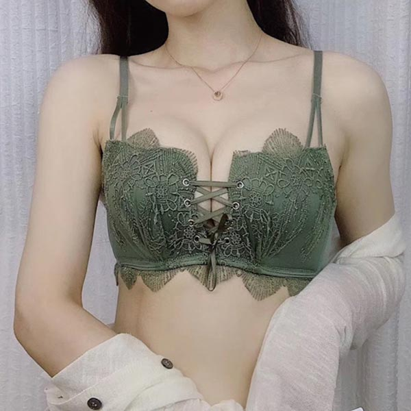 Embroidered Lace Straps Small Breasts Ladies Bra - Green