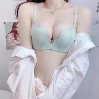 Beauty Heart Shape Plain Soft Cotton Ladies Bra - Light Green