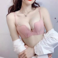 Beauty Heart Shape Plain Soft Cotton Ladies Bra - Pink