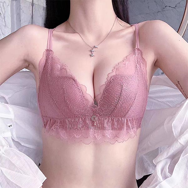 Breathable Lace Small Sweet Chest Cup Ladies Bra - Pink