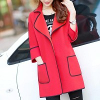 Quarter Sleeve Woolen Wide Collar Women Winter Coats - Red