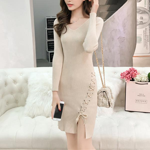 Winter Casual Wearing V Neck Knitted Dress Apricot