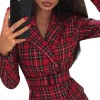 Plaid Belted Blazer Casual Female Bandage Dress - Red