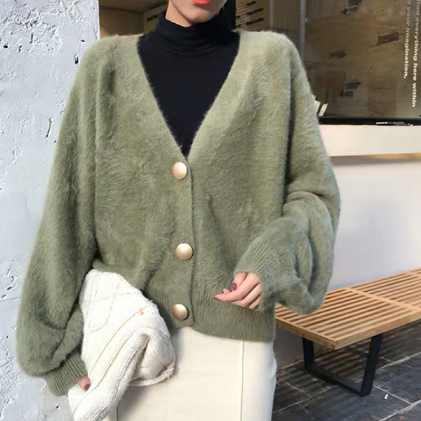 Woolen Solid Pattern Button Decorative Sweaters - Green