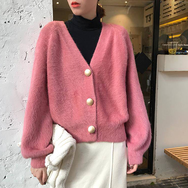 Woolen Solid Pattern Button Decorative Sweaters - Pink