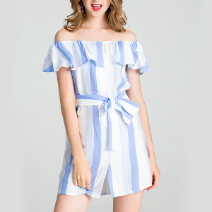 Striped Frill Off Shoulder Mini Dress - Blue