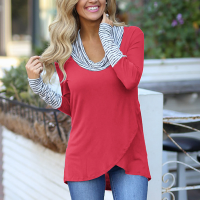 Two Contrast Irregular Shawl Neck Top - Red