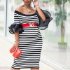 Ruffle Sleeves Striped Off Shoulder Dress