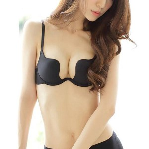 Deep U Shape Cup Seamless Push-up Bras Women Bra - Black