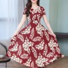 Floral Prints Short Sleeved Party Dress - Red