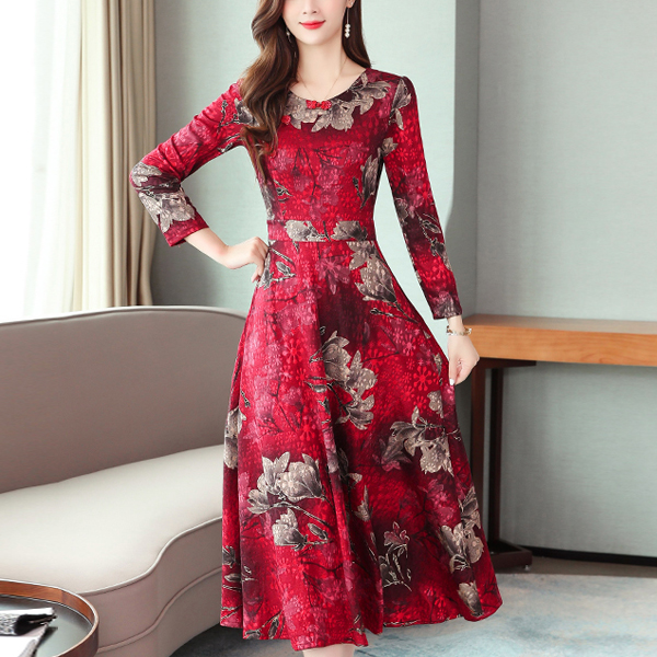Floral Belt A-line O-neck Long Sleeve Women Dress - Red