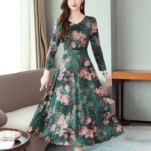 Floral Belt A-line O-neck Long Sleeve Women Dress - Green