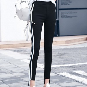 Casual Striped Loose Ankle Length Sport Trousers - Black